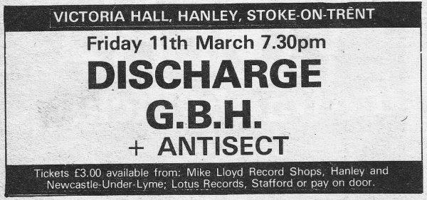 DISCHARGE March 11th 1983  Hanley  Stoke-on-Trent  UK